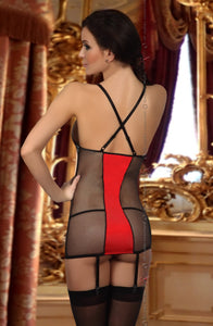 BEAUTY NIGHT HEATHER CHEMISE - INC THONG - BLACK/RED