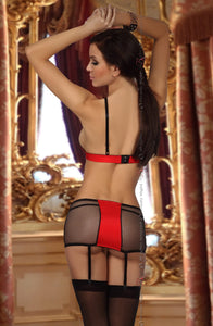 BEAUTY NIGHT HEATHER LINGERIE SET - BLACK/RED