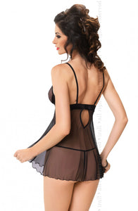 IRALL EROTIC APRIL CHEMISE SET - INC THONG - BLACK