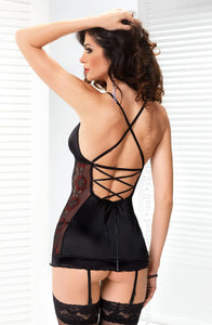 IRALL EROTIC RITA CHEMISE SET - INC THONG AND FOUR SUSPENDER STRAPS - BLACK