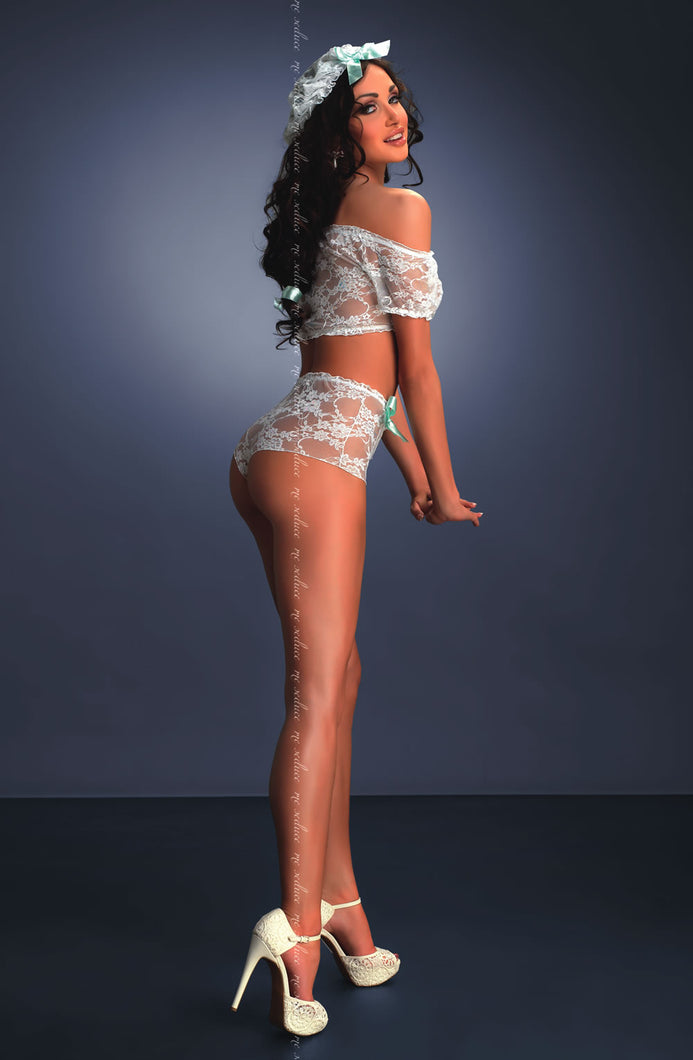 ME SEDUCE CAMILA CAMISOLE SET - INC LACE KNICKERS AND CAP - WHITE