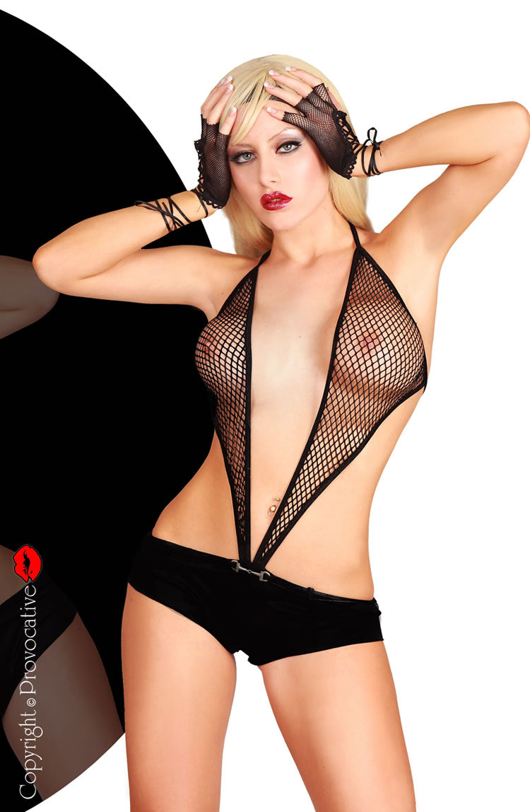 PROVOCATIVE FISHNET EXOTIC TEDDY - BLACK