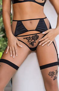 ROZA MEHENDI SUSPENDER BELT BLACK