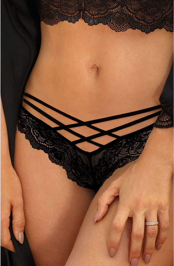 ROZA ZUZA THONG BLACK