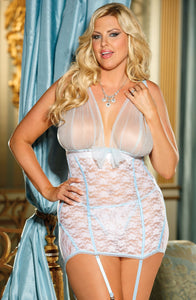 Shirley of Hollywood SoH-IA X25235 Chemise White/Light Blue