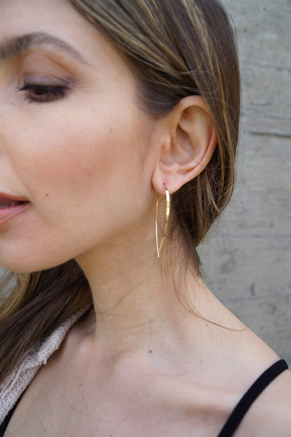 Small Elongated Flat Upside Down Hoops