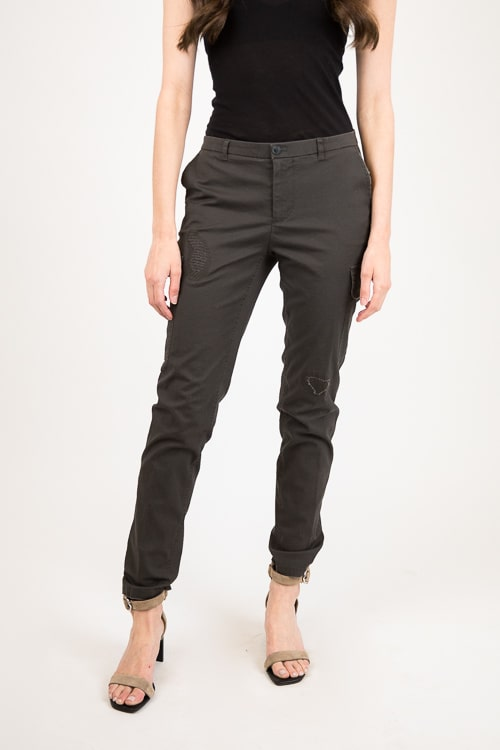 Stretch Cotton Destroyed Cargo Pant
