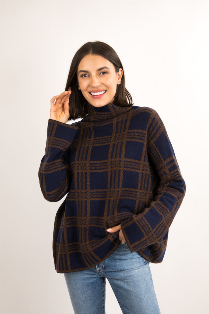 Tartan Plaid Funnel Neck Sweater