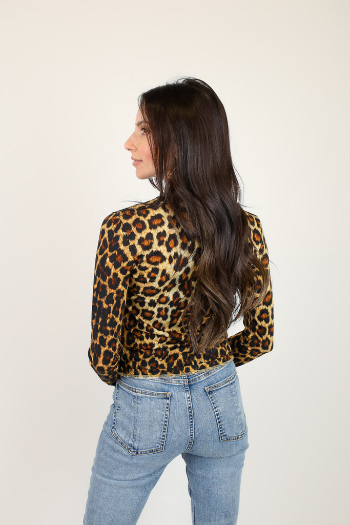 Cheetah Shaw Jersey Turtleneck