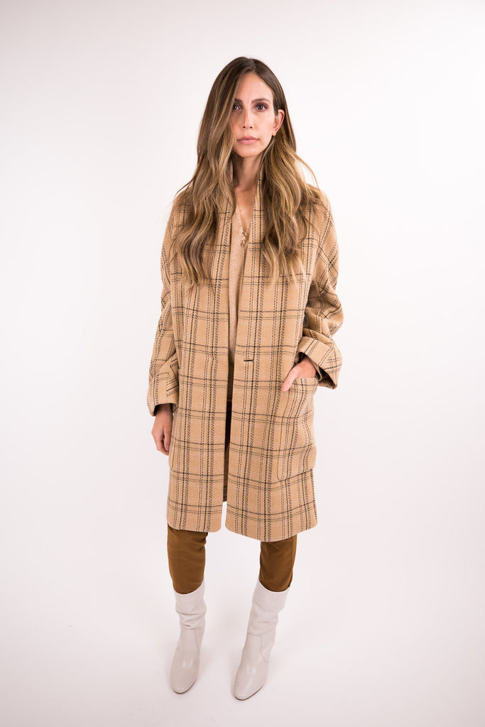 Plaid Collarless Coat