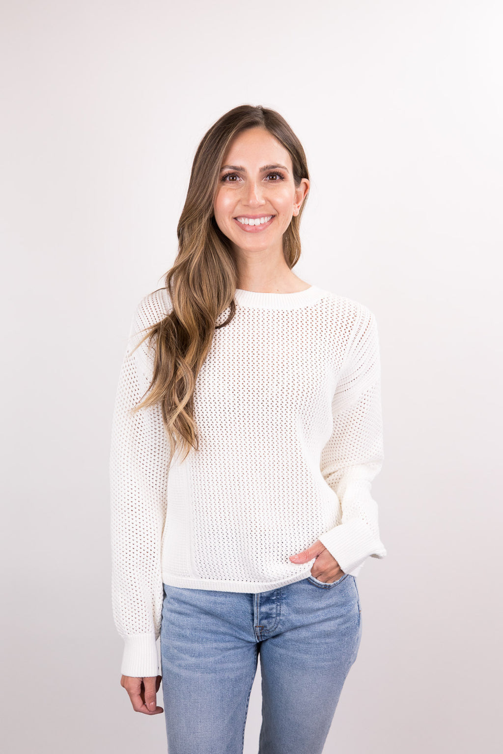Mixed Mesh Stitch Pullover