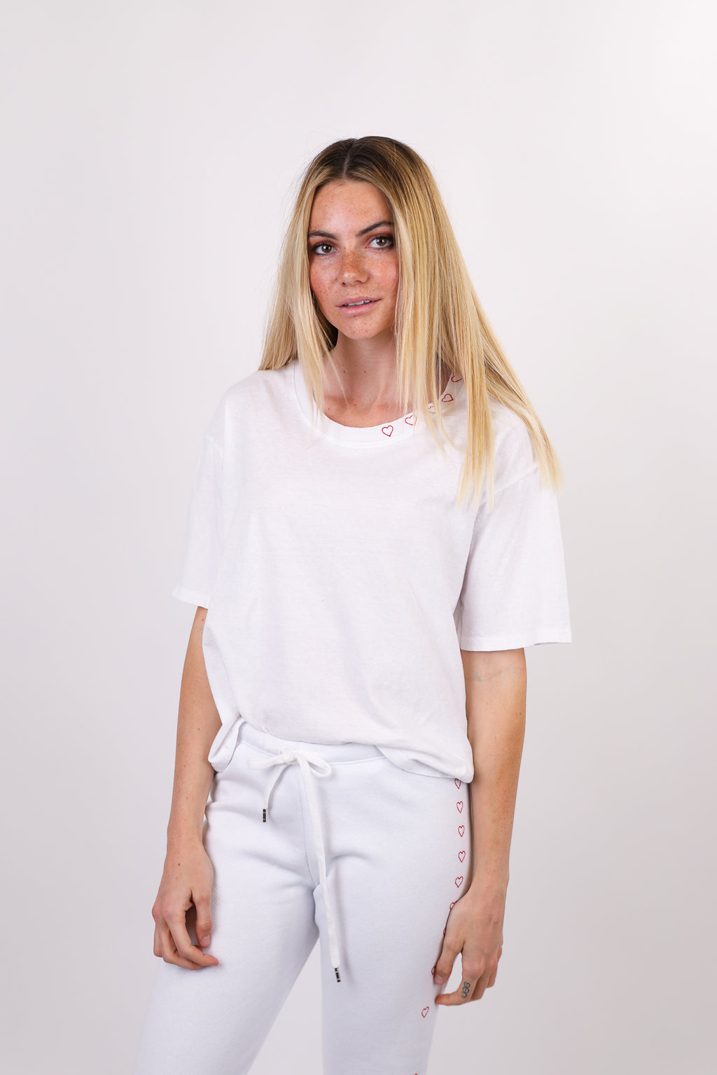 Boxy Tee with Embroidered Hearts