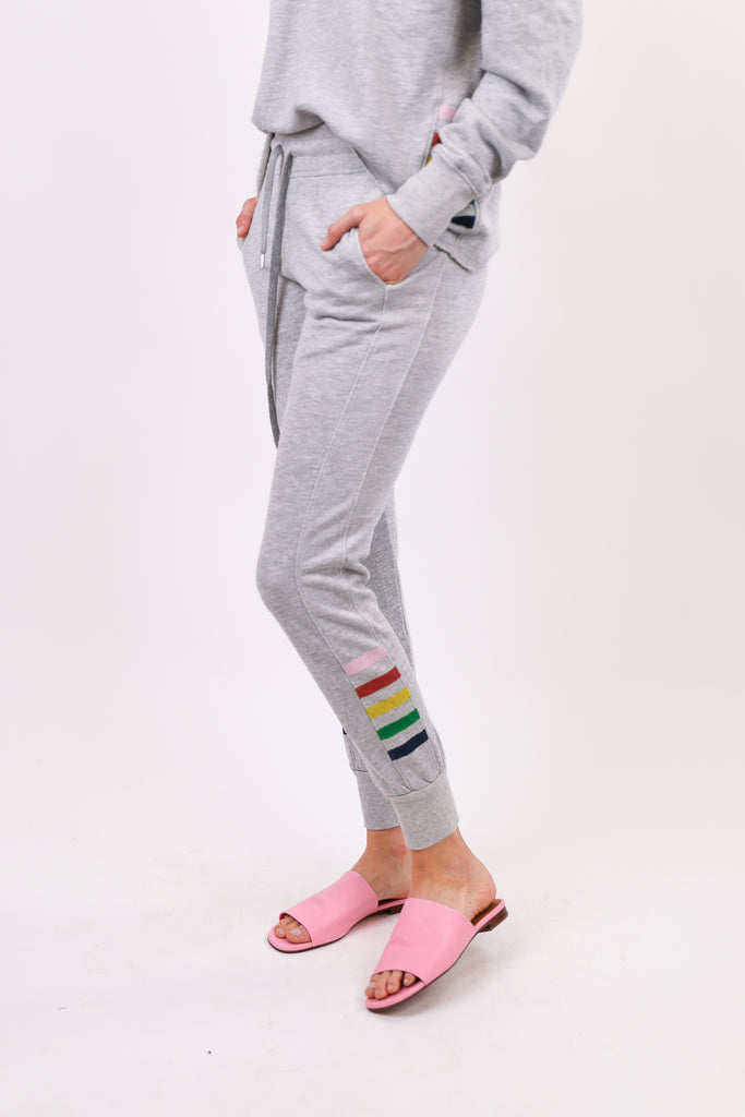 Tapered Sweatpants with Inset Stripes
