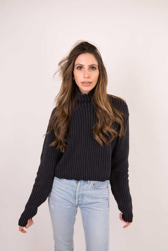 BEAU-TURTLENECK SWEATER Acid Wash