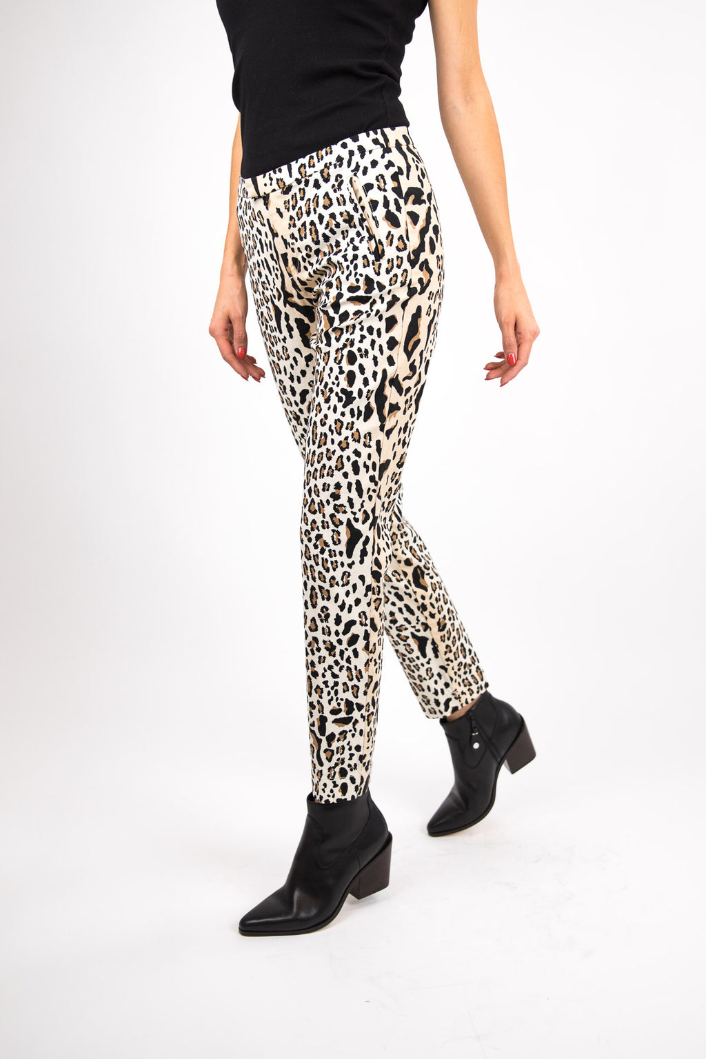 Leopard Print Cotton Slim Pant