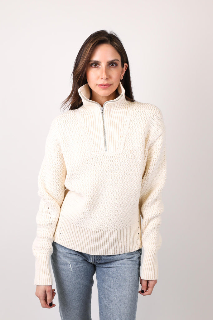 Lena Half Zip Cotton Sweater