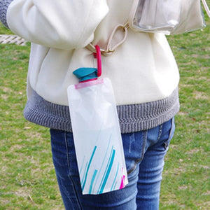 Fold-able Drinking Water Bottle Bag, Outdoor, Hiking, Camping, Soft Flask Squeeze.