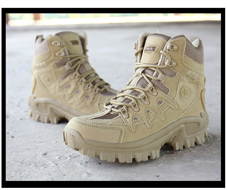 High-top military style hiking shoes.