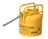 "D.O.T. APPROVED TRANSPORT CANS TYPE II DOT CANS Yellow Galvanized Steel Type II Style Safety Can  w/5/8"" Flexible Hose 5 gal Yellow"