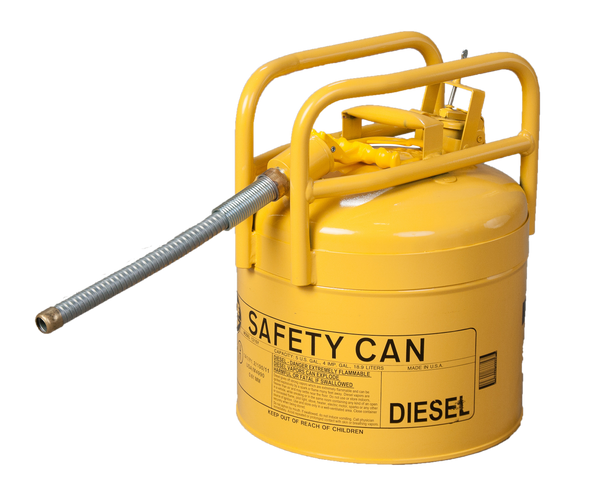 "Type II D.O.T Cans - 5 Gal. Yellow Galvanized Steel Type II Style Safety Can w/ 7/8"" Flexible Hose - Safety Cans"