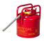 "D.O.T. APPROVED TRANSPORT CANS TYPE II DOT CANS Red Galvanized Steel Type II Style Safety Can  w/5/8"" Flexible Hose 5 gal Red"