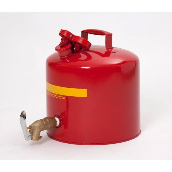 Faucet Cans - 5 Gal. Metal - Red w/ Brass Faucet - Safety Cans