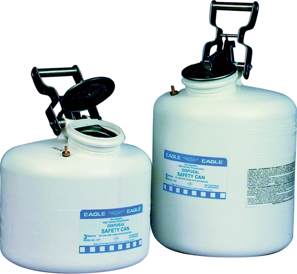 Safety Cans Disposal Cans - 3 Gal. Polyethylene - White - Safety Cans