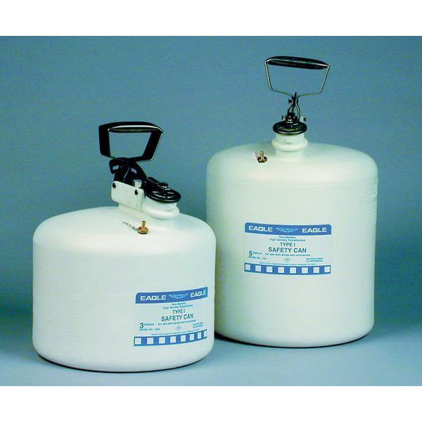 Type I Safety Cans - 3 Gal. Polyethylene - White - Safety Cans