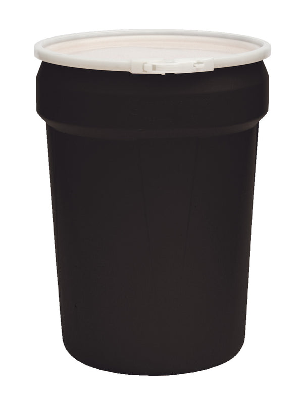 (1 Pallet - qty: 40) 30 Gal. (Black) Lab Pack, Poly Lever-Lock Ring, Plain Lid, 1601BLK