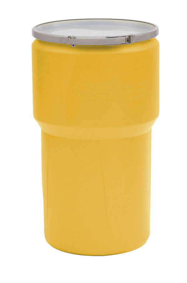 (1 Pallet - qty: 54) 14 Gal. (Yellow) Lab Pack, Metal Lever-Lock Ring, Bung Lid, 1610M-BG1