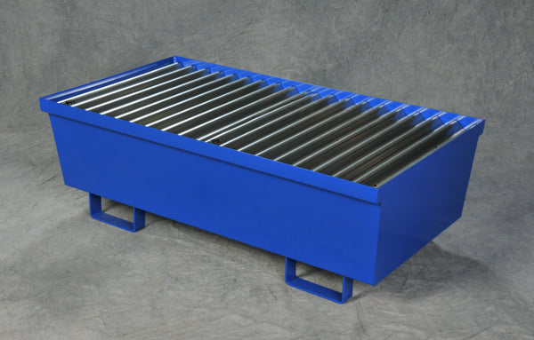 Two Drum Steel Containment Pallet Blue Model # 1620ST - Steel Spill Platforms & Pallets