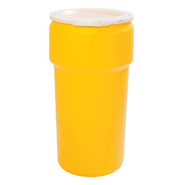 (1 Pallet - qty: 42) 20 Gal. (Yellow) Tall Lab Pack, Plastic Lever-Lock Ring, Plain Lid, 1623