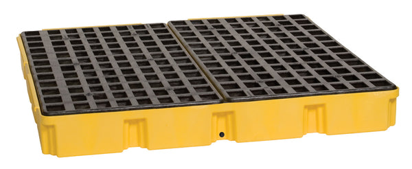 4 Drum Yellow Modular Platform Unit w/ Drain Yellow Model # 1635D - Spill Platforms & Pallets