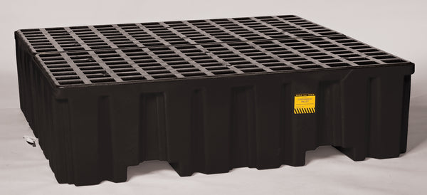 4 Drum Black Containment Pallet - No Drain Black Model # 1640BND - Spill Platforms & Pallets