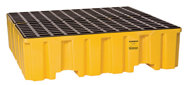 4 Drum Yellow Containment Pallet - No Drain Yellow Model # 1640ND - Spill Platforms & Pallets