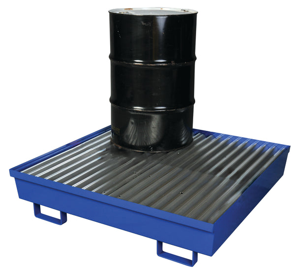4 Drum Steel Containment Pallet Blue Model # 1640ST - Steel Spill Platforms & Pallets