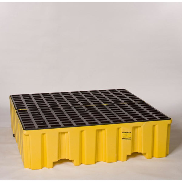4 Drum Containment Pallet - Yellow w/ Black Grate - Drum Accessories