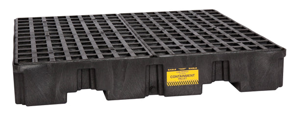 4 Drum Black Low Profile Containment Pallet w/ Drain Black Model # 1645B - Spill Platforms & Pallets