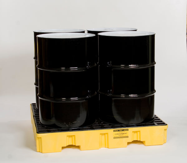 4 Drum Yellow Low Profile Containment Pallet - No Drain Yellow Model # 1645ND - Spill Platforms & Pallets