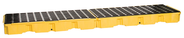 4 Drum Yellow Inline Containment Platform w/ Drain Yellow Model # 1647D - Spill Platforms & Pallets