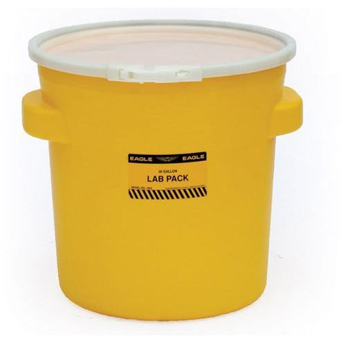 (1 Pallet - qty: 40) 20 Gal. (Yellow) Lab Pack, Plastic Lever-Lock Ring, Plain Lid, 1652