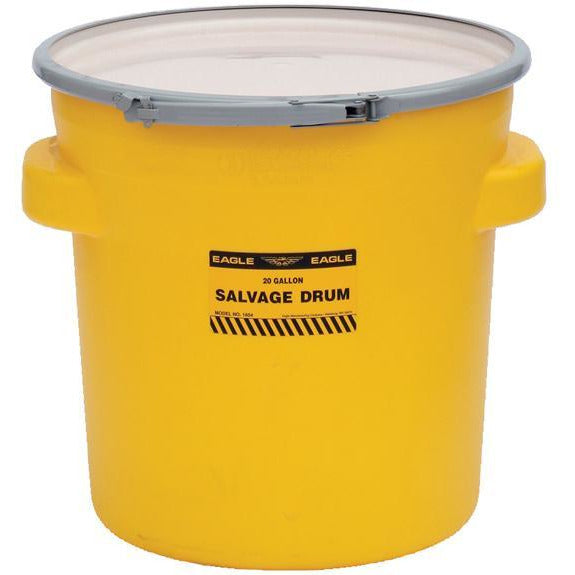 (1 Pallet - qty: 40) 20 Gal. (Yellow) Salvage, Metal Lever-Lock Ring, Plain Lid, 1654