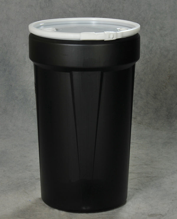 55 Gal. (Black) Lab Pack, Poly Lever-Lock, Bung Lid,1655BLKBG