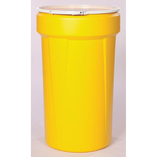 (1 Pallet - qty: 36) 55 Gal. (Yellow) Lab Pack, Plastic Lever-Lock Ring, Plain Lid, 1655