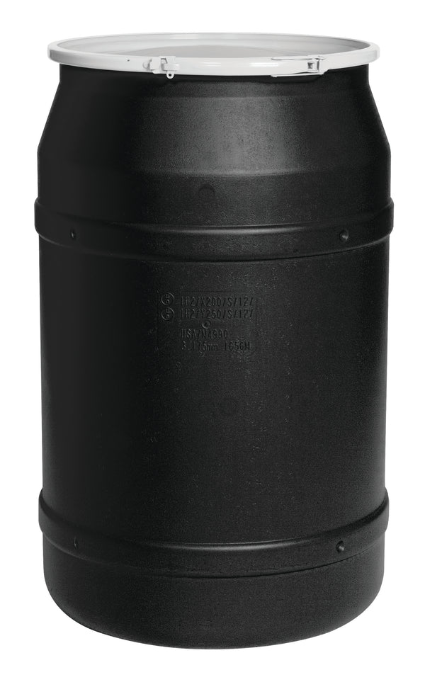 (1 Pallet - qty: 8) 55 Gal. (Black) Lab Pack, Poly Lever-Lock Ring, Bung Lid, 1656BLKBG