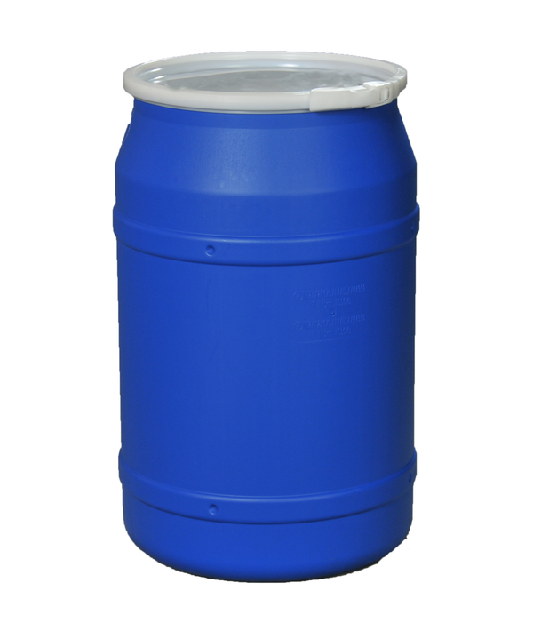 (1 Pallet - qty: 8) 55 Gal. (Blue) Lab Pack, Plastic Lever-Lock Ring, Plain Lid, 1656B