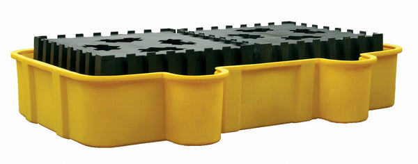 Double All-Poly IBC Containment Unit w/ Poly Platforms - Yellow w/Drain Yellow Model # 1684D - IBC Products