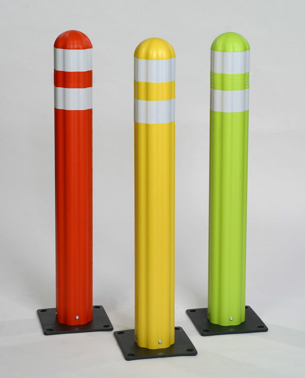 Material Handling Traffic Safety Delineator Poly Guide-Post Delineator, Yellow W/Reflective