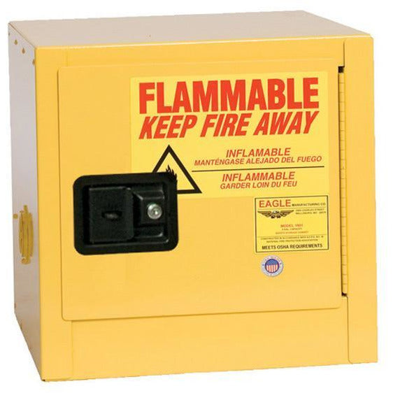 Safety Storage Cabinets Flammable Liquids Bench Top 2 Gal. Yellow One Door Self-Closing One Shelf