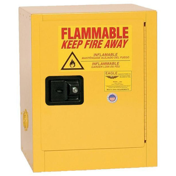 Safety Storage Cabinets Flammable Liquids Bench Top 4 Gal. Yellow One Door Manual One Shelf